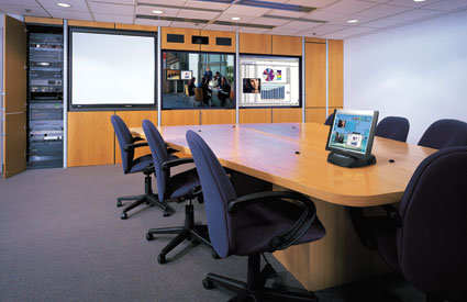 Crestron Touch Panels in A Corporate Board Office Setting